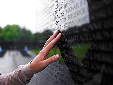 Hand touching Monument, Monument, Vietnam War