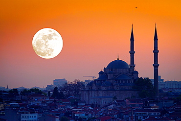 Mosque siluet with moon at sunset Istanbul, Turkey