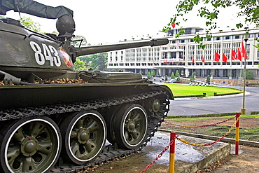 A Russian T54 tank like this broke down palace gates at the end of the Vietnam War Unification Palace Ho Chi Minh City Vietnam
