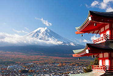 Japan, Fujiyoshida City, Churieto Pagoda and Mount Fuji.