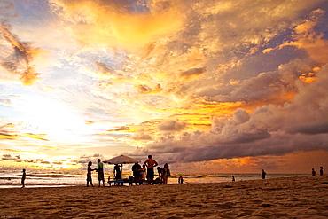 A spectacluar yet common sunset at Kuta Beach, Bali, Indonesia