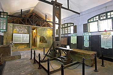 Guillotine and death row cells infamous French and Vietnamese Hoa Lo prison also called the Hanoi Hilton Vietnam