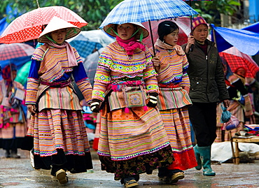 Woman buys CD disc at Bac Ha hilltribe market known for colourful Flower Hmong traders north Vietnam