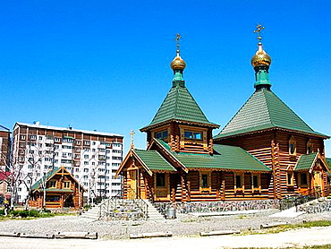 Detail of new wooden Russian Orthodox church completed in 2007 situated in Yuzhno Sakhalinsk Sakhalin, Russia