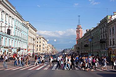 Rusia, San Petersburg City, Nevsky Prospekt Avenue.
