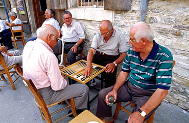 Men playing backgammon, Lefkara, Cyprus