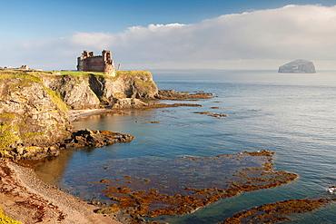 Tantallon Castle and Bass Rock islet near New Berwick, East Lothian, Scotland