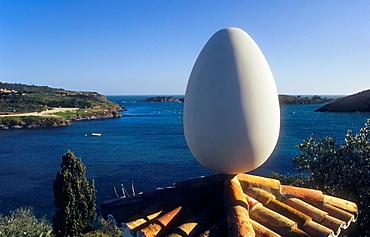 Dali 's house in Port Lligat Egg on the dovecot Costa Brava Girona province Catalonia Spain