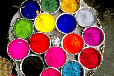 Colored powders for Holi Festival in market, Kalimpong, West Bengal, India