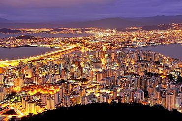 Connection between Florianopolis Island and mainland, night, Santa Catarina, Brazil.