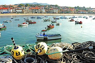 Traditional fishing boats in Panxon Nigran, Pontevedra, Galicia, Spain