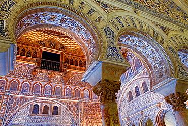 Royal Alcazar, detail of `Salon de Embajadores', Ambassador's Hall, Sevilla, Andalucia, Spain