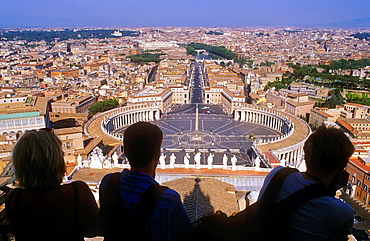 St Peter's Square and city skyline from the Dome of St Peter's Basilica, The Vatican, Rome, Italy