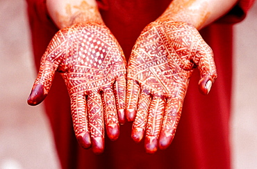 Hands painted with henna, Ouarzazate, valley of the Draa River, Morocco