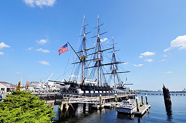 USS Constitution the oldest commissioned US Naval warship docked at the Charlestown Navy Yard Boston Massachusetts USA on a beautiful sunny summer day