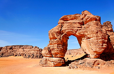 Natural arch rock formation in the Akakus Mountains, Libya