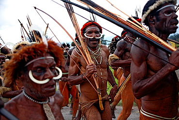 Local group of Papuas joing the Baliem Valley festival and running to the festival side with weapons, one man looking at the camera, Jayawijaya region, Papua, Indonesia, Southeast Asia