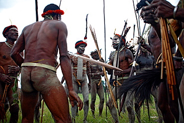 Local group of nacked Papuas showing a playful fight in traditional headdress and with weapons, Jayawijaya region, Papua, Indonesia, Southeast Asia