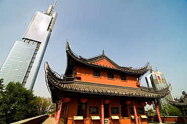 Old & New. a traditional Chinese building and the Zifeng tower as seen from the Gulou in Nanjing.