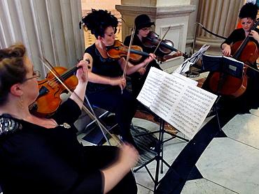 Artist performance at the City Hall, City of Dublin capital, Ireland Eire