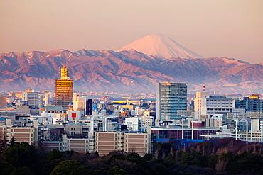 Shinjuku and Mt, Fuji in background, Tokyo, Japan