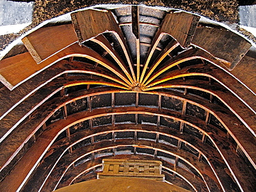 Ceiling of Karla cave Made in wooden Strips Inside Carla Buddhist cave, Chaitya hall measuring 124 ft x 45 ft Dated: 100 B C Situated at Manouli village, around 30 kms from Pune Karla-Bhaje, Maharashtra, India