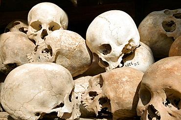 Skulls of the Khmer Rouge's victims at the Killing Fields Memorial of Choeung Ek, near Phnom Pehn, Cambodia