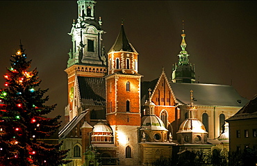 Wawel, the castle of Polish kings in Cracow, Poland, during Christmas time