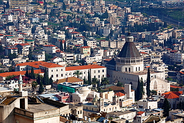 Israel, The Galilee, Nazareth, elevated view of the Basilica of the Annunciation