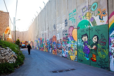 Israel, West Bank, Bethlehem, Israeli-built West Bank Wall surrounding Bethlehem