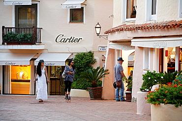 Luxury boutiques in Porto Cervo, Costa Smeralda, Sardinia, Italy