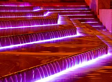 Szechenyi square fountain, illuminated by night. Pecs, Hungary
