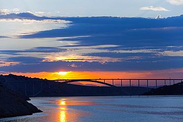 Krk bridge joining Krk island to mainland via Sv Marko over Mala Passage, viewed from South-East