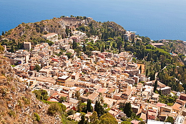 View of the town of Taormina, and Greek Theatre, Sicily, Italy