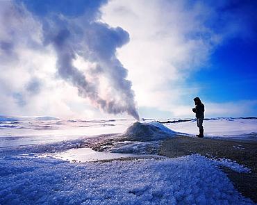 Geologist at Oskurholshver, hot spring at Hveravellir, Iceland - 817-364137