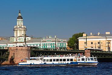 Russia, Saint Petersburg, Center, tourboat on the Neva River