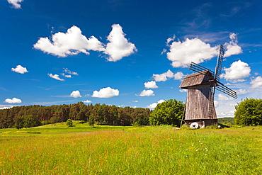 Russia, Pskovskaya Oblast, Pushkinskie Gory, windmill at Mikhailovskoye, the Alexander Pushkin Preserve, estate of famous Russian poet