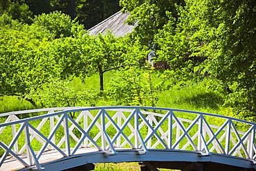Russia, Pskovskaya Oblast, Pushkinskie Gory, footbridge at Mikhailovskoye, the Alexander Pushkin Preserve, estate of famous Russian poet