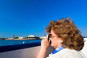 Russia, Saint Petersburg, Center, woman passenger on hydrofoil, NR
