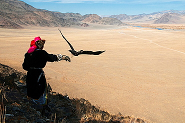 A Kazakh eagle hunter lets his golden eagle fly in the Altai Region of Bayan-Olgii in Western Mongolia