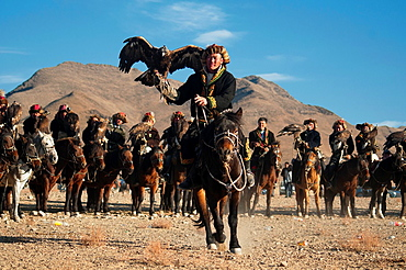 Kazakh eagle hunters and their golden eagles in the Altai Region of Bayan-Olgii in Western Mongolia