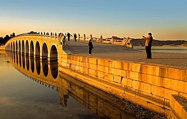 Summer Palace, in Kunming Lake Seventeen arch bridge, Beijing, China