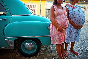 Pregnant ladies outside a clinic for pregnat women,Trinidad city, Sancti Spiritus Province, Cuba
