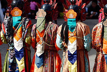 Detail of outfit of dancers at the Tsechu festival, Thimphu, Bhutan