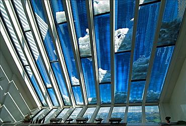 Glacier 3000, Switzerland, interior of restaurant, architect Mario Botta