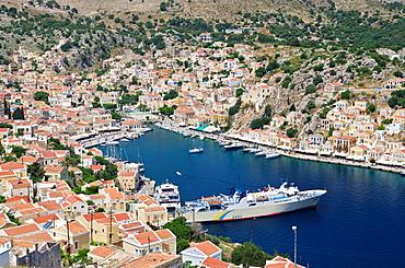 View of Gialos harbour, Symi Island, Greece