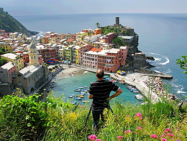 Taking a picture of Vernazza, Cinque Terre, Italy