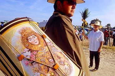 `Tamborilero´,Pilgrims in Donana Palace,Romeria del Rocio, pilgrims on their way through the Donana National Park, pilgrimage of Sanlúcar de Barrameda brotherhood, to El Rocio, Almonte, Huelva province, Andalucia