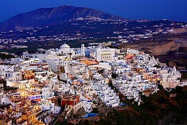 Fira at Dusk, Santorini, Cyclades, Greece