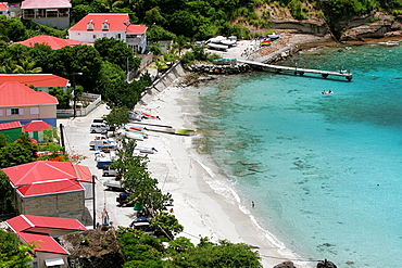 Traditional island village of Corossol beach and jetty St Barts